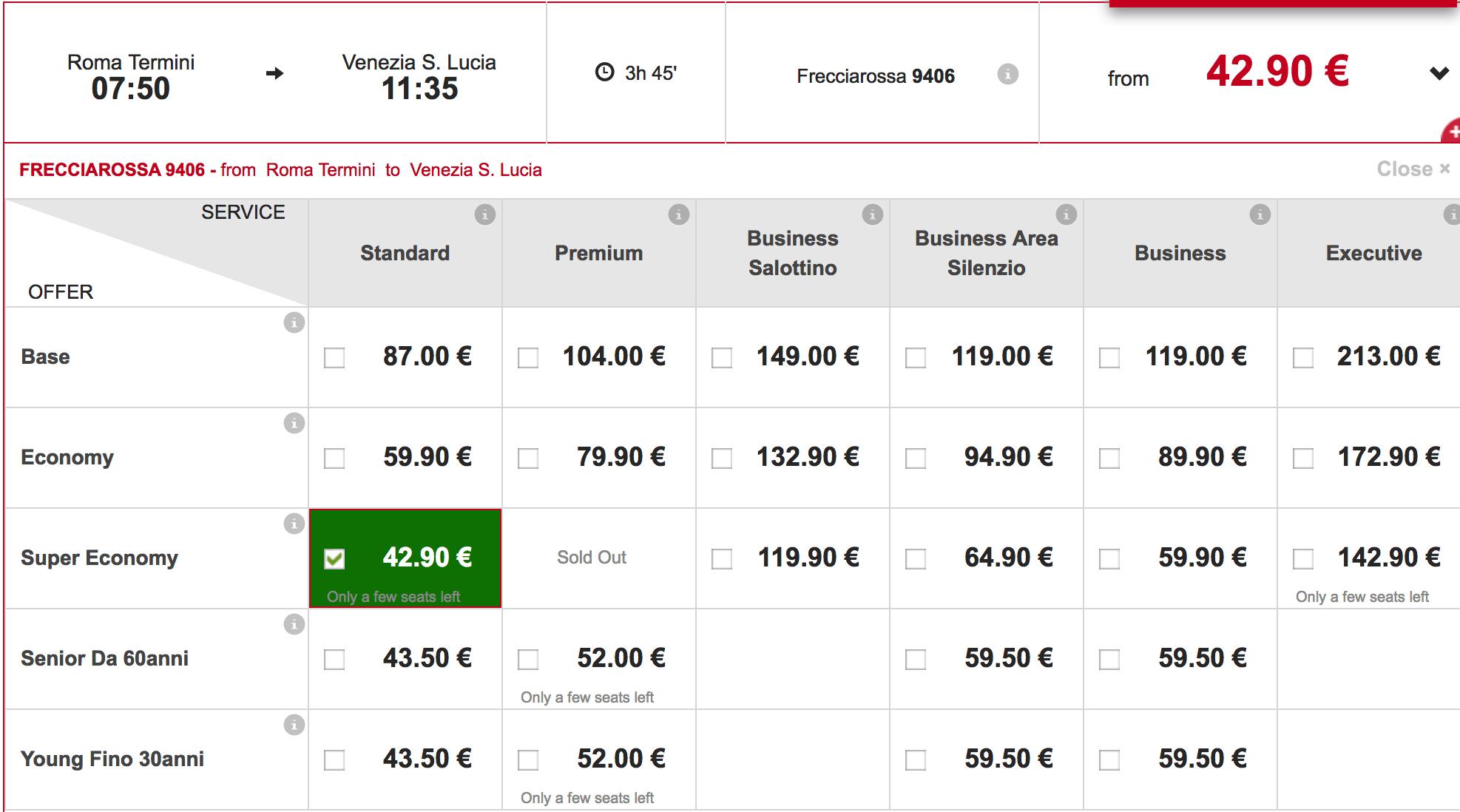 rome to venice train prices