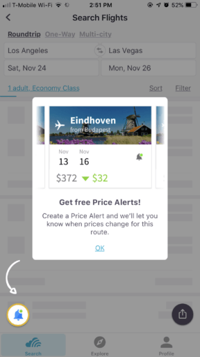 skyscanner price alerts