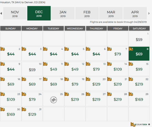 frontier airlines fare calendar